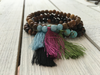 Wooden Bracelet with Semiprecious Stones and Decorative Tassel
