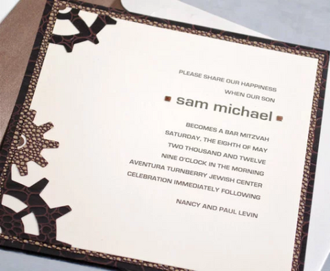 Bar Mitzvah Invitation with Brown Inventor Theme, Adorned with Wheels, Comes with Matching Lined Envelope, Made to Order