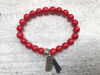 Fearless Pursuit, Red Beaded Bracelet, Red Bracelet, Bracelet with Charm and Tassel, Coral Bracelet, Red Coral Bracelet, Men's Bracelet