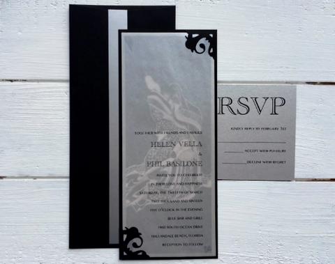 Wedding invitation, Elegant Wedding invitation, Custom designed, Handmade, Vertical Wedding invitation