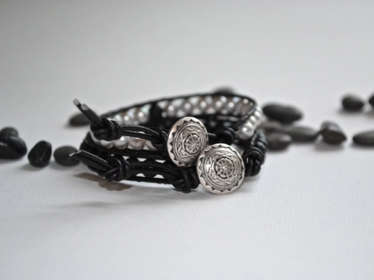 His and Hers Single Wrap Bracelets, Handmade with Soft Grey Pearls, Black Leather, and Decorative Button, Special Requests Welcome
