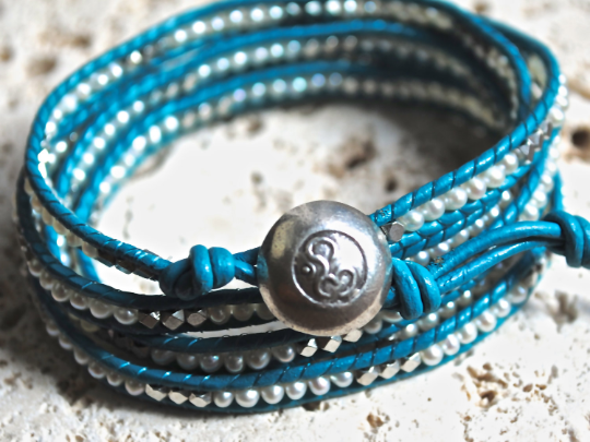 Anna's Grace, Five Wrap Pearl Leather Bracelet Silver Plated Nuggets  Silver Om Button Girlfriend's Gift
