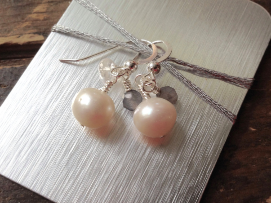 Pearl Earrings, Pearls, Labradorite and Quartz crystals, Silver plated