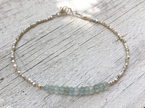 Swirling Seas, Aquamarine and Silver Beaded Bracelet Hill Tribe Silver March Birthstone Bridesmaid Gift Wedding Gift Hill Tribe Silver