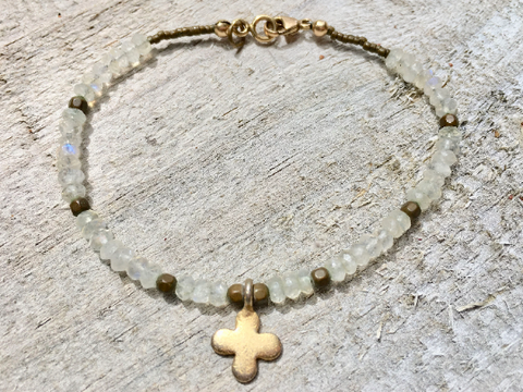 Moonstone Bracelet Moonstone Beaded Bracelet Bracelet with Cross Girlfriend Gift Women's Jewelry Wife Gift Karen Hilltribe Charm