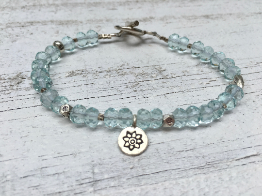 Aquamarine Bracelet - Aquamarine Beaded Bracelet - March Birthstone - Hill Tribe Silver Charm - Women's Jewelry - Girlfriend's Gift