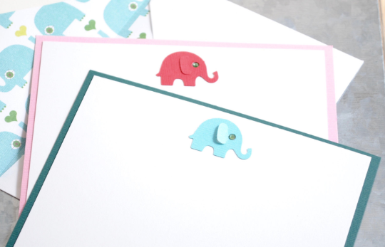 Elephant Note Cards, Note Cards, Elephant Stationery, Baby Note Cards, Personalized Note Cards, Thank You Note Cards, Set of 8