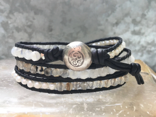 Leather Wrap Bracelet Pearl Moonstone Quartz Bracelet Women Bracelet Beaded Bracelet Girlfriend Gift  Hill Tribe Om Button Junes Birth Stone