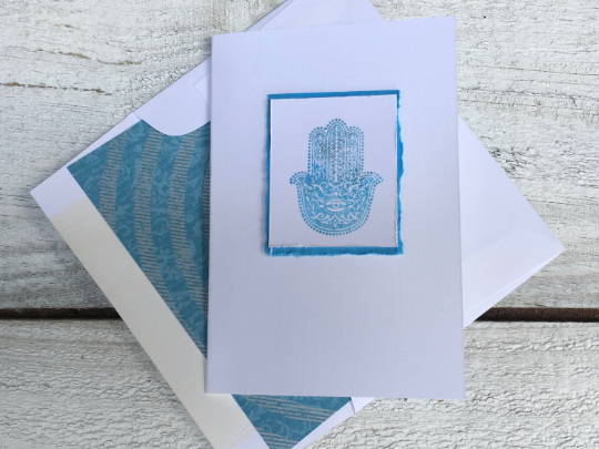 Hamsa folded Note Card, Folded Note Card, Evil Eye Cards, Hamsa Stationery,  Handmade Note Cards, Greeting Cards, Thanks You Cards, Set of 8