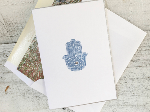 Hamsa Folded Note Card Folded Note Card Evil Eye Cards Hamsa Stationery Handmade Note Cards Greeting Cards Thanks You Cards Set of 8