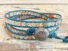 Blue Angels, Leather Wrap Bracelet, Quartz Bracelet  Quartz Wrap Bracelet Colorful Bracelet Cowgirl Bracelet, Boho Bracelet, Girlfriend Gift