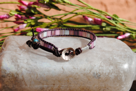 Pink Mosaic Style Handmade Single Wrap Bracelet with Mood Beads, Silver Scoop Button, Special Requests Welcome
