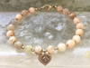 Sandstone Bracelet - Hill Tribe Nuggets - Hill Tribe Heart Charm - Beaded Bracelet - Girlfriend's Gift - Women's Jewelry