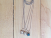 Satin silver Mod chain necklace with charms - 5mm Quartz crystal, pearl and apatite 17