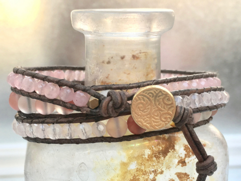 Aphrodite, Triple Pink Leather Wrap Bracelet with Pink Semiprecious Stones, Bracelet, Jewelry