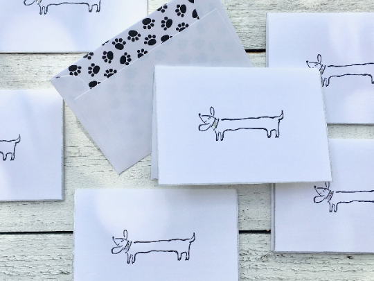 Dachshund Note Cards, Dachshund Stationery, Dog Note Cards, Dog Lover Cards, Note Cards, Personalized Note Cards, Greeting Cards, Set of 8