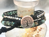 Jasper Beaded Bracelet - Leather Double Wrap - Jasper Bracelet - Silver Tree Button - Women's Jewelry - Girlfriend's Gift - Men's Jewelry