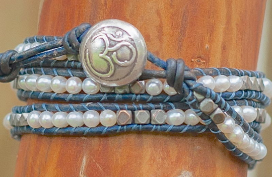 Pearl Leather Wrap -Pearl and Silver Bracelet - Blue Leather Triple Wrap - Om Button - Girlfriend's Gift - Women's Jewelry - June Birthstone