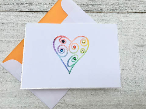 Folded Note Cards, Rainbow Heart Note Cards, Handmade Stationery, Thank You Cards, Thank You Note Cards, Personalized Note Cards, Set of 8