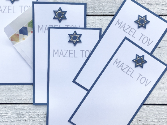 Mazel Tov Note Cards, Star of David Stationery, Bar Mitzvah, Money Envelope Cards, Congratulations, Jewish Holiday Cards, Set of 8