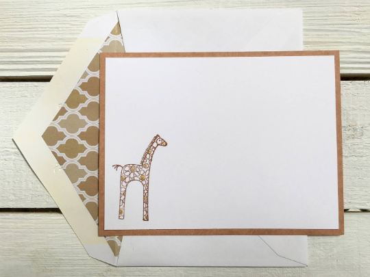 Giraffe Personalized Note Cards, Personalized Note Cards, Thank You Cards, Personalized Stationery, Animal Note Cards, Set of 8