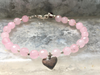 Promise of Love, Rose Quartz Bracelet with Heart Charm Rose Quartz Beaded Bracelet Pink and Silver Girlfriends Gift Women's Jewelry