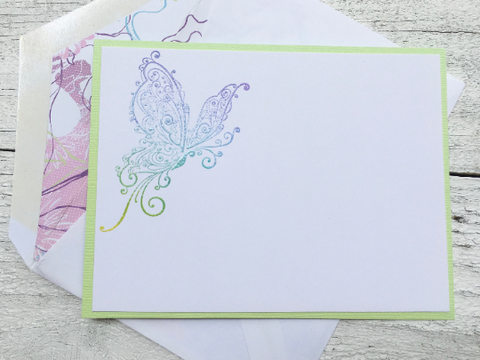 Butterfly Note Cards, Personalized Note Cards, Butterfly Stationery, Thank You Cards, Note Cards, Handmade, Set of 8