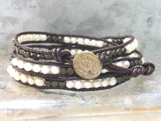 Pearl Bracelet Pearl Wrap Bracelet Triple Leather Wrap Bracelet Pearls and Antique Nugget Bracelet Girlfriend Bracelet June's Birthstone