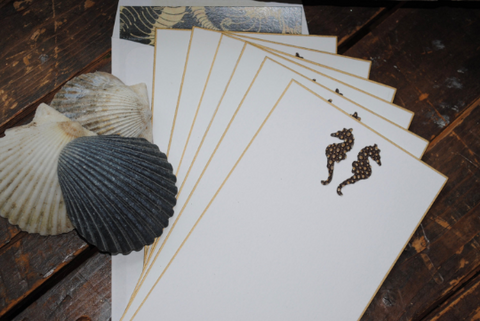 Note Cards, Personalized Seahorse Stationery, Handmade Note Cards, Thank You Cards, Beach Themed Note Cards, Nautical Flat Cards, Set of 8