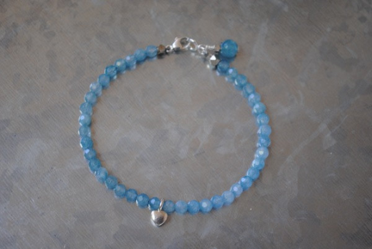 Bead Bracelet in Blue Jade with Hill Tribe Silver Heart and a Lobster Claw Clasp, 7 Inch Wrist, Special Requests Welcome