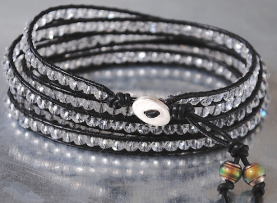 Five Wrap Bracelet with Black Leather, Radiant Crystals, Hill Tribe Silver Button and Mood Stone Nuggets, 32-34