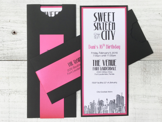 Custom Invitation, Sweet Sixteen, Birthday, Quinceañera, Bat/Bar Mitzvah, Vertical Invitation, Modern Invitation