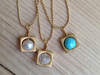 Satin gold Mod chain necklaces with charms - 5 mm pearl, quartz and turquoise, chain is 17 inches in length