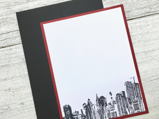 New York City Sky Line Note Cards, New York City Note Cards, Men's Personalized Stationery,  Note Cards, Thank You Cards, Set of 8