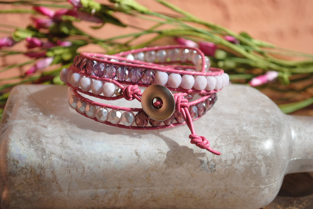 Pink Three Wrap Leather Bracelet