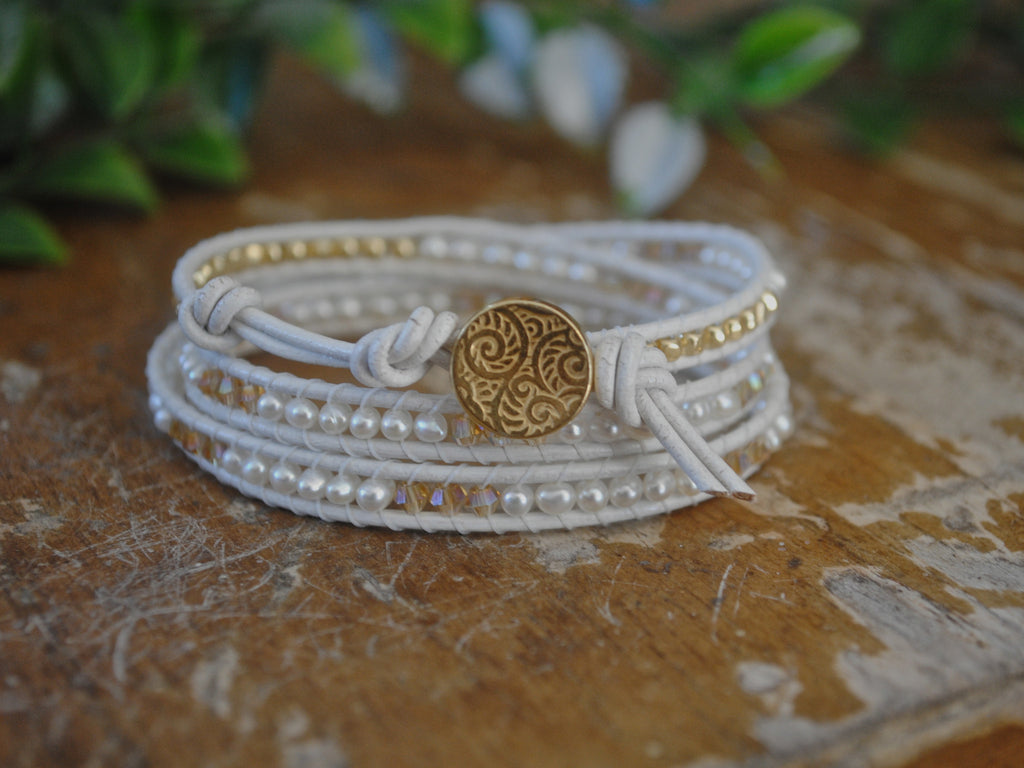 White Pearl Leather Wrap - Three Wrap Bracelet - Gold Metal Nuggets and Crystals - Wedding Jewelry - Girlfriend's Gift - June Birthstone