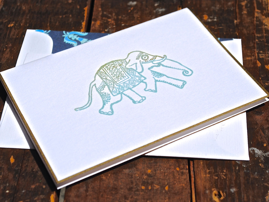 Elephant Folded Note Card, Elephant Stationery, Folded Note Cards, Personalized Stationery, Set of 8 Cards