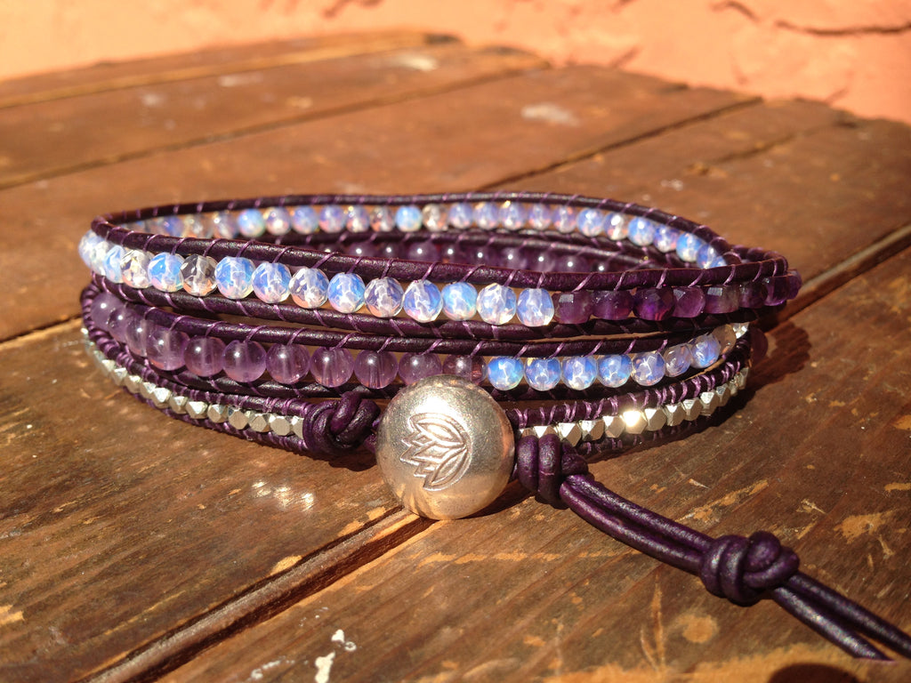 Triple Wrap Amethyst Bracelet, Opal Silver Plated Nuggets, Hill Tribe Silver Button, Bridesmaid Gifts, Special Requests Welcome