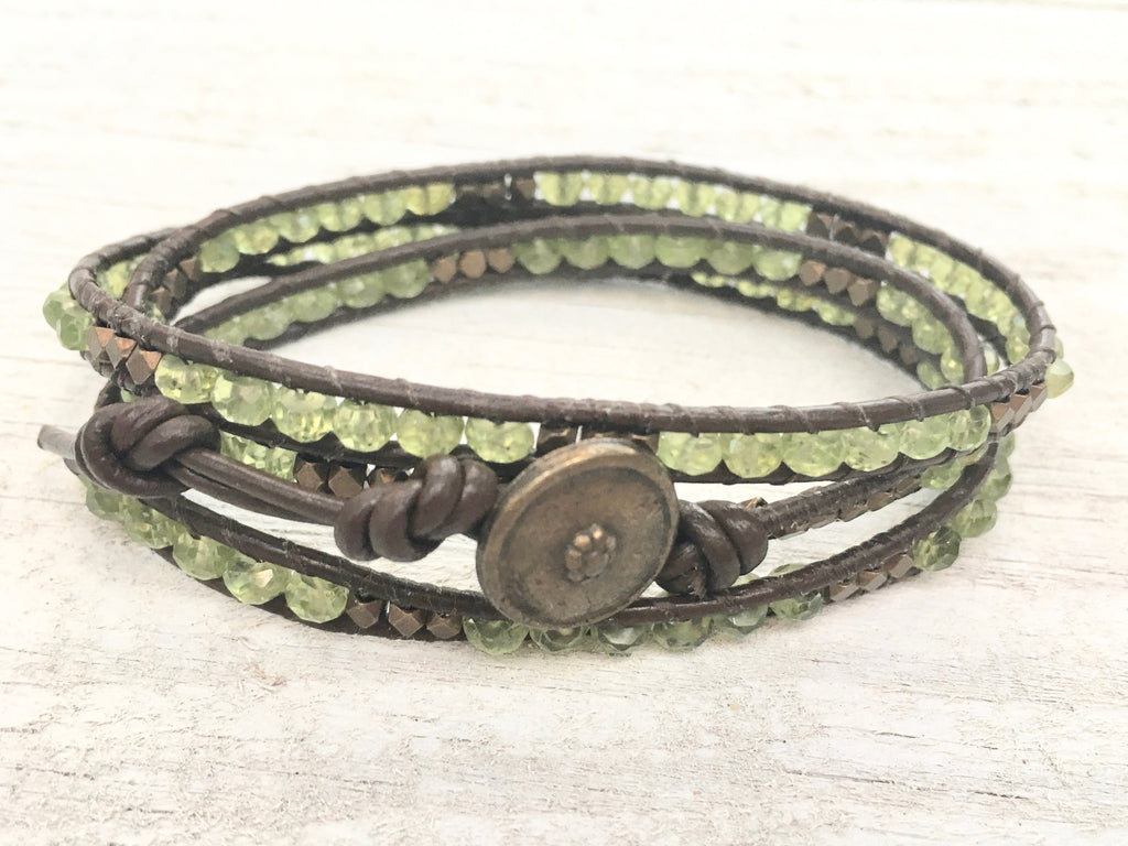 Three Wrap Leather Bracelet with Peridot and Antique Gold Nuggets