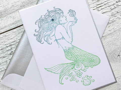 Mermaid Note Card, Mermaid Stationery, Personalized Note Cards, Notecards, Thank You Cards, Greeting Cards, Set of 8