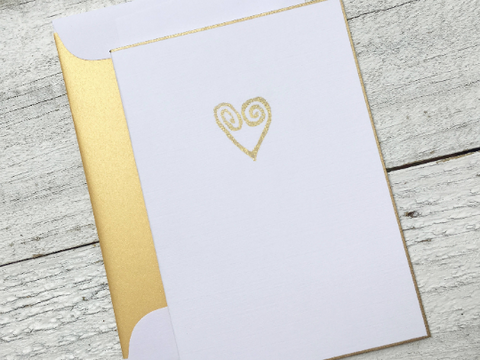 Gold Heart Folded Cards, Wedding Folded Cards, Love Notes, Heart Stationery, Mother's Day Cards, Thank You Notes, Set of 8