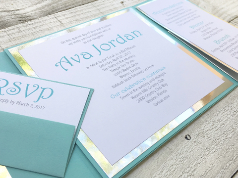 Aqua Bat Mitzvah Invitation, Contemporary Bat Mitzvah Invitation, Bat Mitzvah Invitation, Birthday Invitation, Sweet Sixteen Invitation
