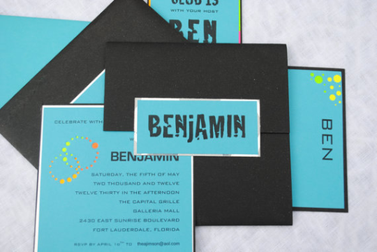 Bar Mitzvah Invitation, Bat Mitzvah and Party Invitation - Eye catching with modern punched swirls, Handmade