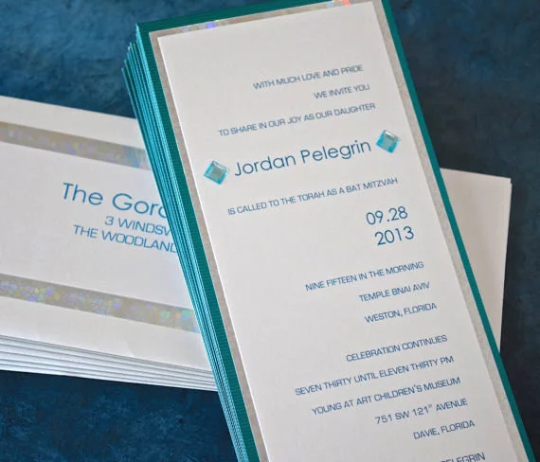 Modern Bat Mitzvah Invitation, Triple Layered, for Weddings and Other Events, 9 1/4