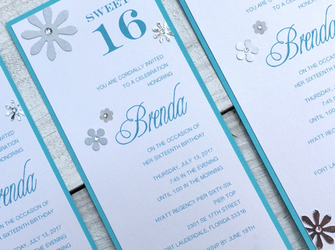 Sweet Sixteen Invitation Birthday Invitation Quinceanera Invitation Bat Mitzvah Invitation Contemporary Invitation Modern Floral Invitation