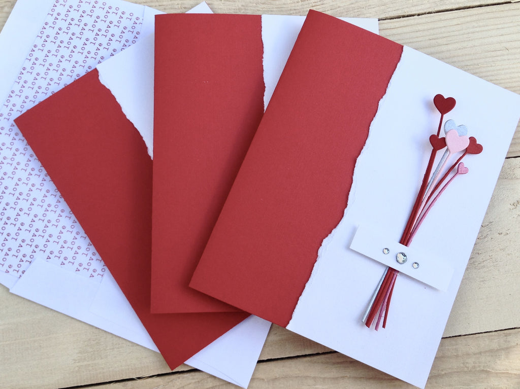 Heart Note Cards, Bouquet of Hearts Note Cards, Love Note Cards, Modern Heart Note Cards, Set of 4