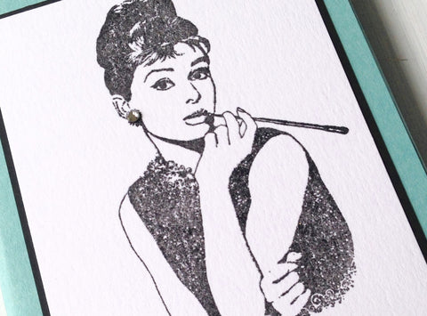 Audrey Hepburn Note Card, Audrey Hepburn Folded Note Card, Audrey Hepburn Stationery, Folded Note Cards, Note Cards, Set of 8