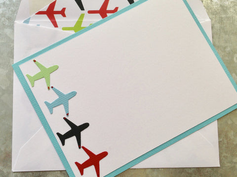 Airplane Notecards, Personalized Notecards, Personalized Stationery, Thank You Cards, Set of 8