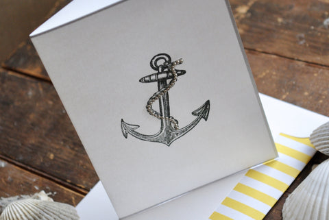 Anchor Folded Note Cards Anchor Note Cards Anchor Stationery Personalized Note Cards Personalized Stationery Nautical Note Cards Set of 8
