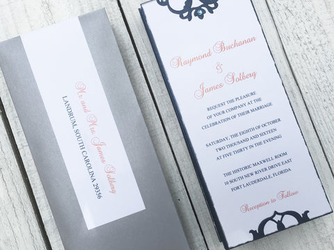 Wedding Invitation, Elegant Wedding Invitation, Vintage Wedding Invitation, Blue and White Invitation, Handmade Invitation